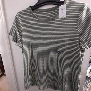 🆕 Land's End Olive Ivory Stripe Crew T-shirt XL